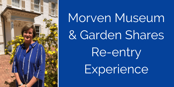 Portrait photo of Morven Museum & Garden Executive Director Jill Barry at the front entrance/facade of the Morven Museum & Garden main building.